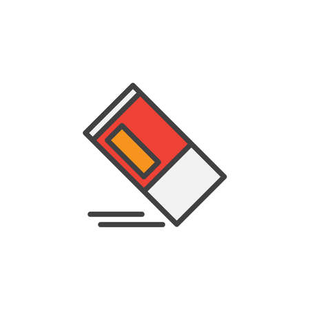 Eraser filled outline icon.