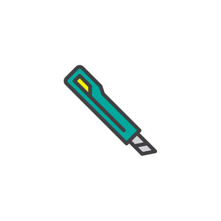 Cutter knife filled outline icon, line vector sign, linear colorful pictogram isolated on white. Paper cutter symbol, logo illustration. Pixel perfect vector graphics Illustration