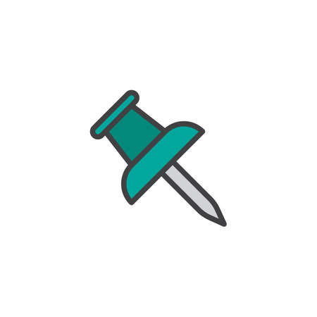 Push pin filled outline icon.
