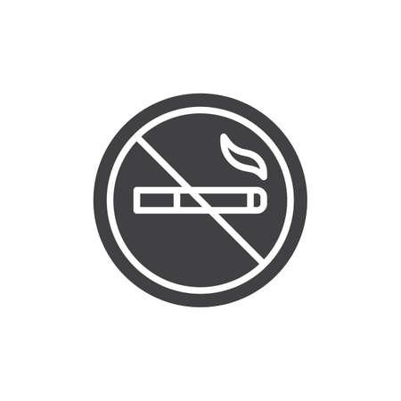 No smoking cigarette icon vector, filled flat sign, solid pictogram isolated on white. Symbol, logo illustration. Illustration