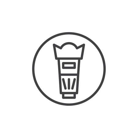 Photo camera lens line icon, outline vector sign, linear style pictogram isolated on white. Professional zoom lens symbol, icon illustration.