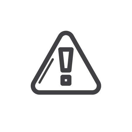 Exclamation point triangle line icon, outline vector sign, linear style pictogram isolated on white. Attention, caution symbol, icon illustration. Thick line design.