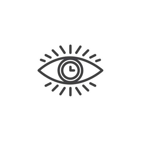 Eye clock line icon, outline vector sign, linear style pictogram isolated on white. Time monitoring symbol, logo illustration. Editable stroke