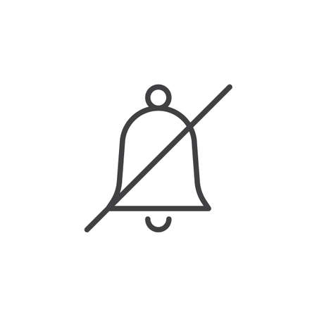 Sound mute bell line icon, outline vector sign, linear style pictogram isolated on white. Strikeout bell symbol, logo illustration. Editable stroke