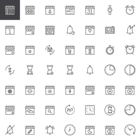 Time and date line icons set, outline vector symbol collection, linear style pictogram pack. Signs illustration. Set includes icons as calendar, hourglass, clock, watch, agenda, binder, bell