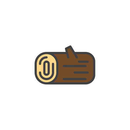 Wooden log filled outline icon illustration. Illustration
