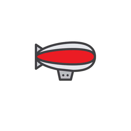 Airship zeppelin filled outline icon, line vector sign, linear colorful pictogram isolated on white. Dirigible air balloon symbol illustration. Pixel perfect vector graphics