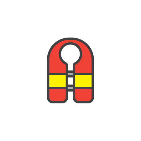 Guard vest filled outline icon, line vector sign, linear colorful pictogram isolated on white. Life jacket symbol, logo illustration. Pixel perfect vector graphics Illustration