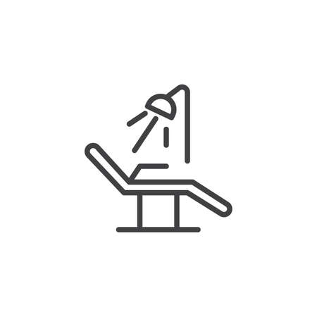 Dentist chair line icon, outline vector sign, linear style pictogram isolated on white. Symbol, logo illustration. Editable stroke
