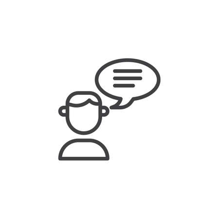 User talk line icon, linear style pictogram isolated on white.