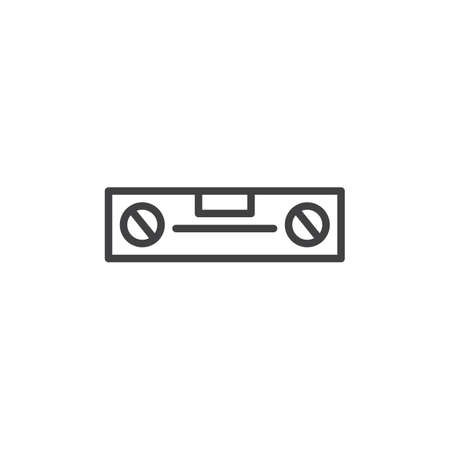 Wasserwaage-Werkzeuglinie Ikone, Entwurfsvektorzeichen, lineares Artpiktogramm lokalisiert auf Weiß. Symbol, Logoabbildung. Bearbeitbarer Strich
