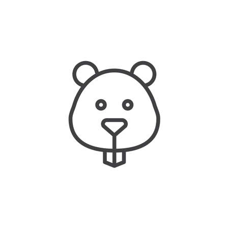 Hamster head line icon, outline vector sign, linear style pictogram isolated on white background. Symbol, logo illustration. Editable stroke.