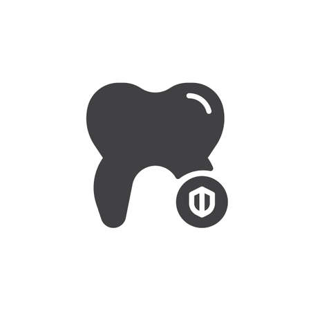 Dental shield icon vector, filled flat sign, solid pictogram isolated on white. Tooth protection symbol, logo illustration.  イラスト・ベクター素材