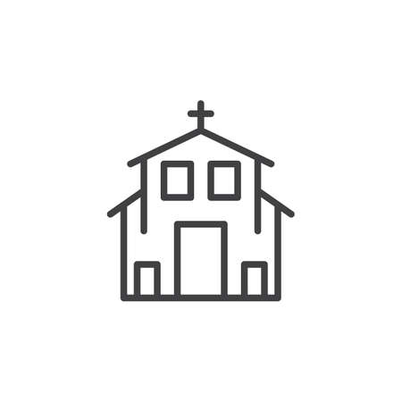 Church line icon, outline vector sign, linear style pictogram isolated on white. Christianity religion symbol, logo illustration. Editable stroke