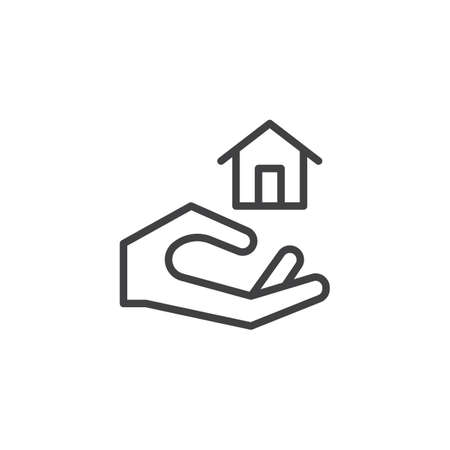 Hand holding home line icon, outline vector sign, linear style pictogram isolated on white. Property insurance symbol, logo illustration. Editable stroke Illustration