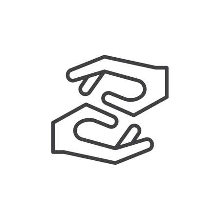 Caring hands line icon, outline vector sign, linear style pictogram isolated on white. Assistance symbol, logo illustration. Editable stroke Vettoriali
