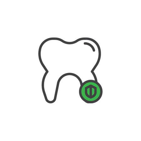 Dental shield filled outline icon Illustration