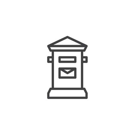 Mail box line icon, outline vector sign, linear style pictogram isolated on white. Symbol, illustration. Editable stroke