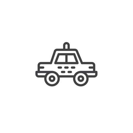タクシーの車のラインアイコン、アウトラインベクトル記号、白に分離された線形スタイルのピクトグラム。シンボル、イラストレーション。編集
