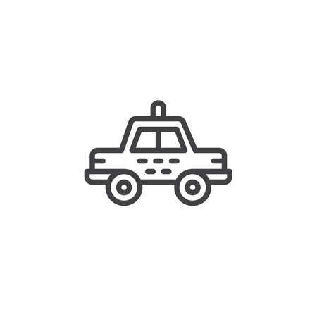 Taxi car line icon, outline vector sign, linear style pictogram isolated on white. Symbol, illustration. Editable stroke Иллюстрация