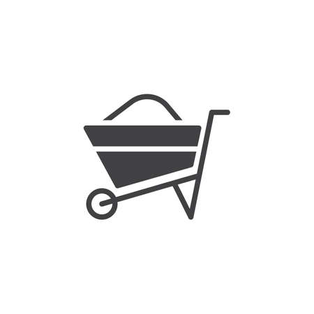 Wheelbarrow full icon vector, filled flat sign, solid pictogram isolated on white. Barrow symbol, logo illustration