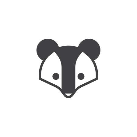 Badger head icon vector, filled flat sign, solid pictogram isolated on white. Brock face symbol, logo illustration. Ilustracja