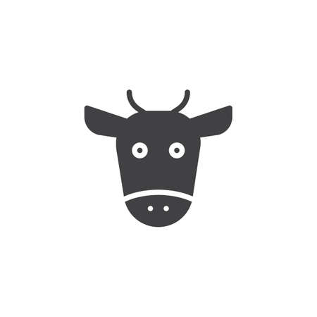 Cow head icon vector, filled flat sign, solid pictogram isolated on white. Symbol, logo illustration. Stock Photo