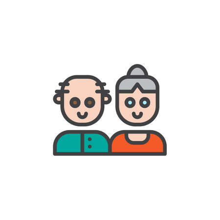 Grandparents couple filled outline icon, line vector sign, linear colorful pictogram isolated on white. Symbol, logo illustration. Pixel perfect vector graphics Vectores