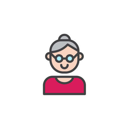 Grandmother filled outline icon. 일러스트