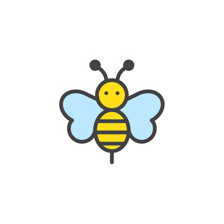 Bee animal filled outline icon, line vector sign, linear colorful pictogram isolated on white. Bumblebee symbol, logo illustration. Pixel perfect vector graphics Ilustração