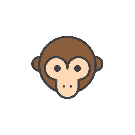 Monkey head filled outline icon, line vector sign, linear colorful pictogram isolated on white. Symbol, logo illustration. Pixel perfect vector graphics Ilustração