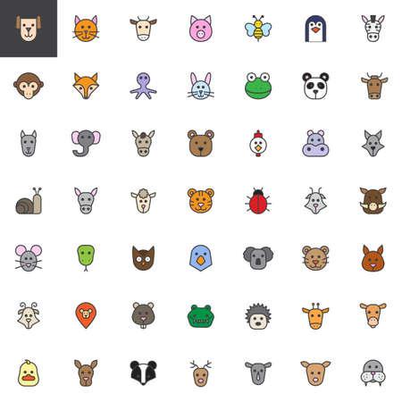 Dierlijke hoofd gevulde omtrek iconen set, lijn vector symbool collectie, lineaire kleurrijke pictogram pack. Stock Illustratie