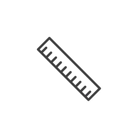 Ruler tool line icon, outline vector sign, linear style pictogram isolated on white. Measurement symbol, logo illustration. Editable stroke Ilustração