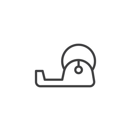 Office tape dispenser line icon, outline vector sign, linear style pictogram isolated on white. Adhesive tape symbol illustration. Illustration