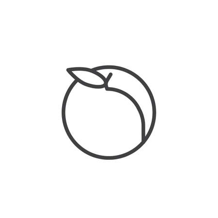 Peach fruit line icon, outline vector sign, linear style pictogram isolated on white. Healthy vegetarian food symbol, logo illustration. Editable stroke