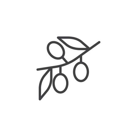 Olive branch line icon, outline vector sign, linear style pictogram isolated on white. Symbol, logo illustration. Editable stroke Ilustrace
