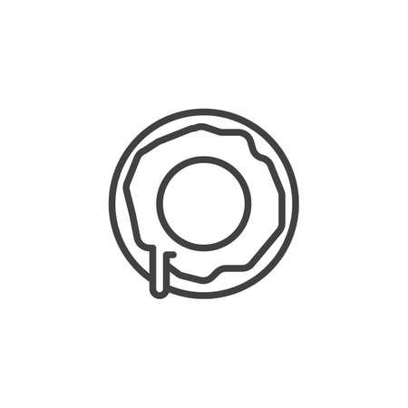 Doughnut line icon, outline vector sign, linear style pictogram isolated on white. Dessert symbol, logo illustration. Editable stroke Illustration