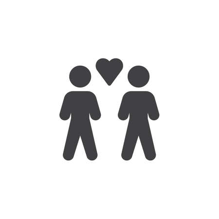 Loving gay couple icon vector, filled flat sign, solid pictogram isolated on white. Friends symbol illustration.
