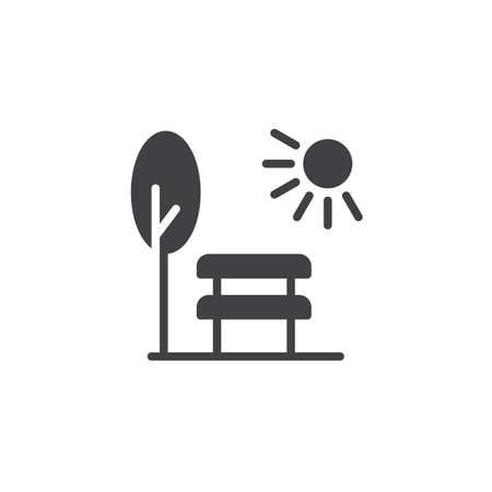 Park scene with bench tree and sun icon vector, filled flat sign, solid pictogram isolated on white. Symbol, logo illustration