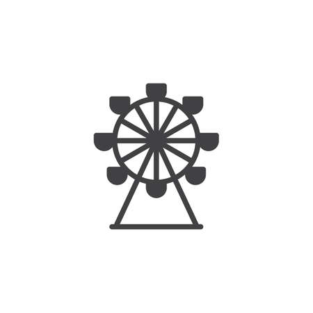 Ferris wheel icon vector, filled flat sign, solid pictogram isolated on white. Park carousel symbol, logo illustration