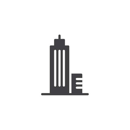 Skyscraper building, construction icon vector, filled flat sign, solid pictogram isolated on white illustration. Çizim