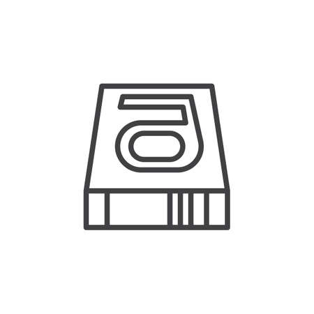 Hard disk line icon, outline vector sign, linear style pictogram isolated on white. HDD symbol illustration. Vettoriali
