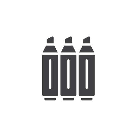 Highlighter markers icon vector, filled flat sign, solid pictogram isolated on white. Symbol, logo illustration.