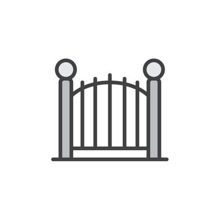 Decorative gate filled outline icon, line vector sign, linear colorful pictogram isolated on white. Park fence symbol illustration. Pixel perfect vector graphics Illustration