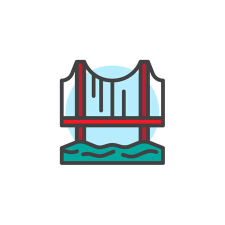 Bridge filled outline icon, line vector sign, linear colorful pictogram isolated on white. Symbol, logo illustration. Pixel perfect vector graphics