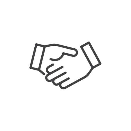 Icône de ligne Business Handshake, signe de vecteur de contour, pictogramme de style linéaire isolé sur blanc. Accord, symbole de mains tremblantes, illustration. Trait modifiable