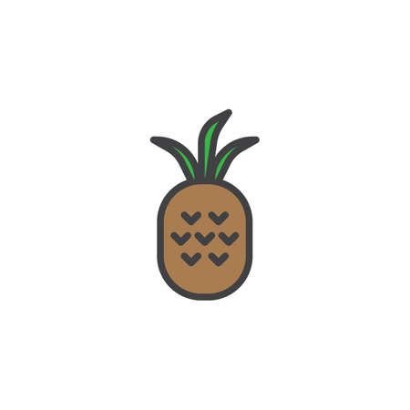 Pineapple fruit filled outline icon, line vector sign, linear colorful pictogram isolated on white. Tropical food symbol, logo illustration. Pixel perfect vector graphics