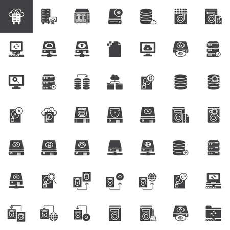 Data recovery vector icons set, modern solid symbol collection, filled style pictogram pack. Signs, logo illustration. Set includes icons as hard drive disk, store binary file, transfer data 向量圖像