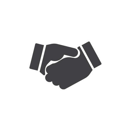 Business handshake icon vector, filled flat sign, solid pictogram isolated on white. Agreement, Shaking hands symbol, logo illustration. Illustration