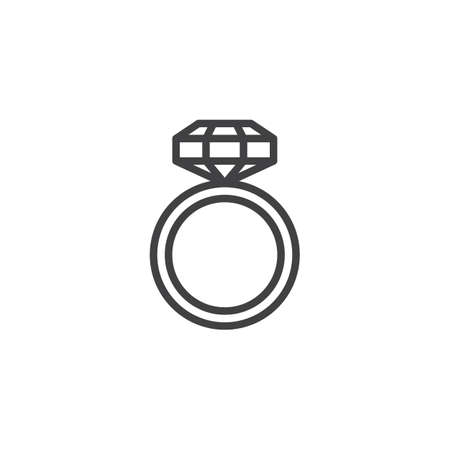 Engagement ring with diamond line icon, outline vector sign, linear style pictogram isolated on white. Jewelry symbol, logo illustration. Editable stroke